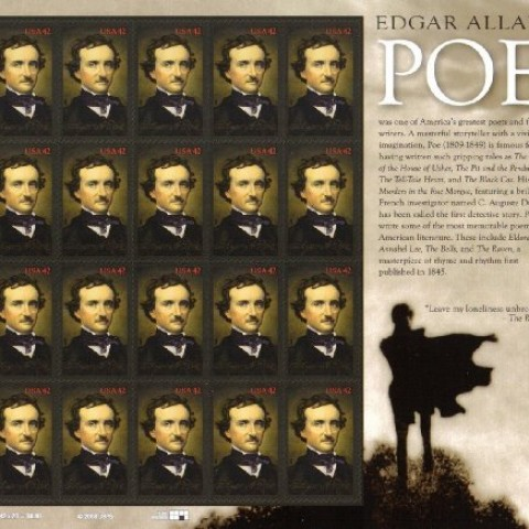2009-Edgar-Allan-Poe-Poet-Author-4377-Pane-Of-20-X-42c-Us-Postage-Stamps-0