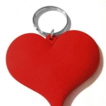 Keychain-Valentine-Gift-Heart-Shape-Rubber-Dark-Red-Metal-Key-Ring-TF-279-0